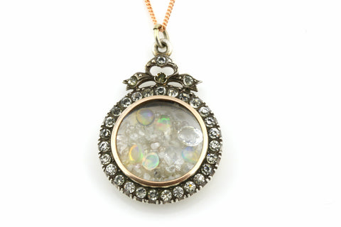 Charming Antique Silver Shaker Locket with Precious Gems & 9ct Rose Gold Chain - Circa 1870