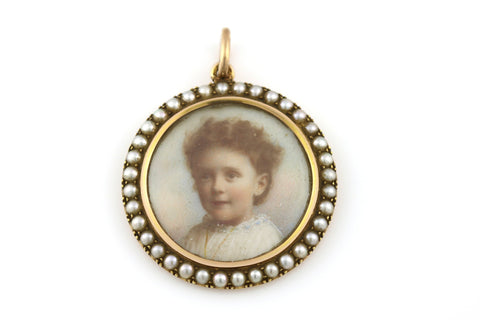 Edwardian 15ct Rosy Gold Natural Pearl Photo Locket Pendant -c.1901