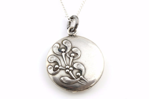 "RESERVED FOR ""L""! - Beautiful Art Nouveau French Silver Mistletoe Locket and Chain - c.1900"