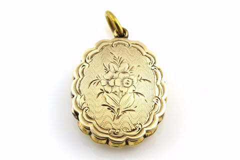 Quality 9ct Gold Victorian Locket with Bouquet of Flowers -c.1800