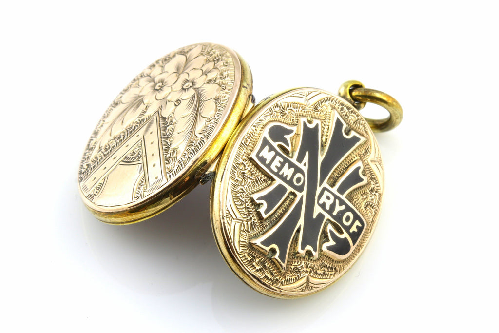 Beautiful Victorian 9ct Gold Mourning Locket with Black Enamel - c.1870