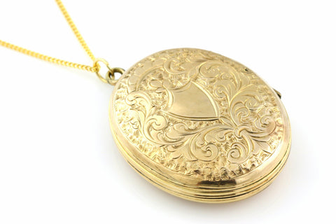 Beautiful Large Rolled Gold Edwardian Locket with Chain -c.1901