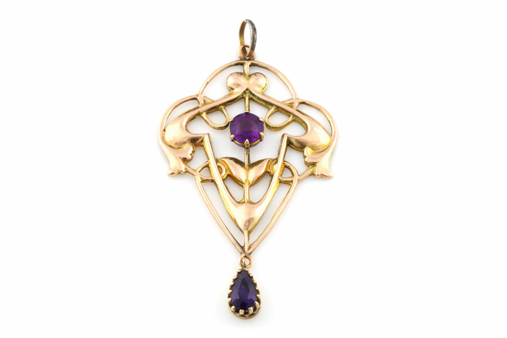Fine  9ct Gold and Amethyst Paste Art Nouveau Lavalier Pendant - c.1900