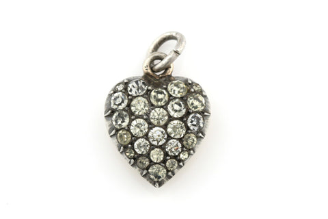 Antique Georgian Paste Heart Charm Pendant , Silver -c.1800