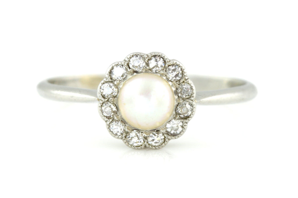 Art Deco Natural Pearl & Rose-Cut Diamond Cluster Platinum Ring c.1930