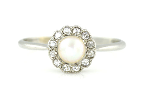 Art Deco Natural Pearl & Rose-Cut Diamond Cluster Platinum Ring -c.1930