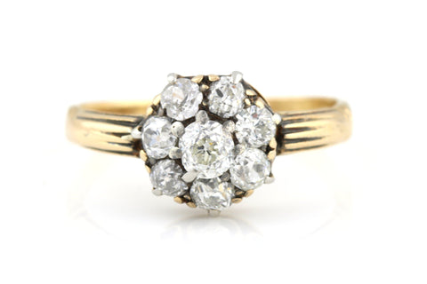 18ct Gold Victorian Diamond Cluster Ring (0.60ct) -c.1850