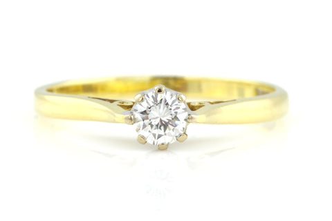 Vintage 18ct Gold Diamond Solitaire Engagement Ring (0.25ct)