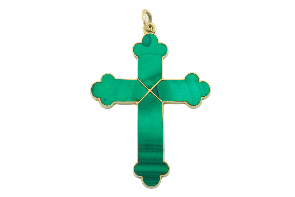 Antique 9ct Gold Malachite Cross Pendant