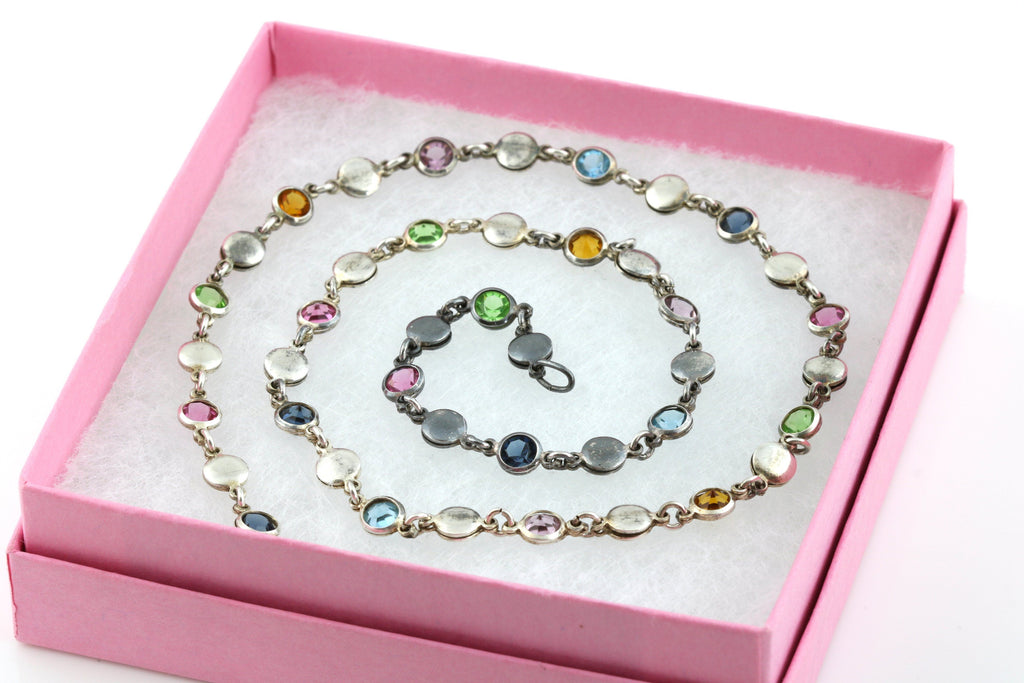 Cute Vintage Silver Rainbow Necklace and Bracelet Set