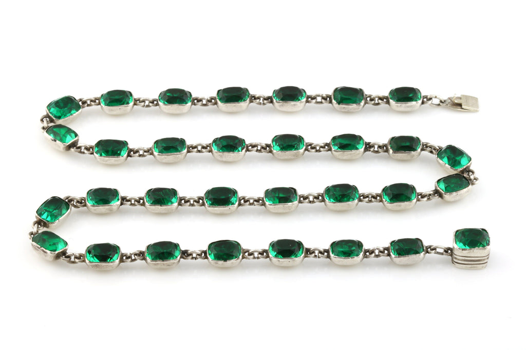 Rare Georgian Paste Rivière Necklace in Emerald Green - c.1790