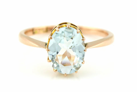 Beautiful Early 20th Century 9ct Rose Gold & Blue Gem Ring - c.1905