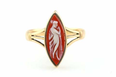 Antique 9ct Rose Gold Cameo Ring - c.1906