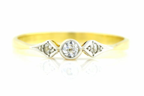 18ct Yellow Gold Art Deco Diamond Engagement Ring Trilogy -c.1920
