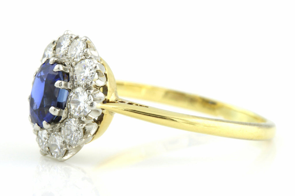 Vintage Sapphire and Diamond Cluster Ring (0.65ct) c.1950