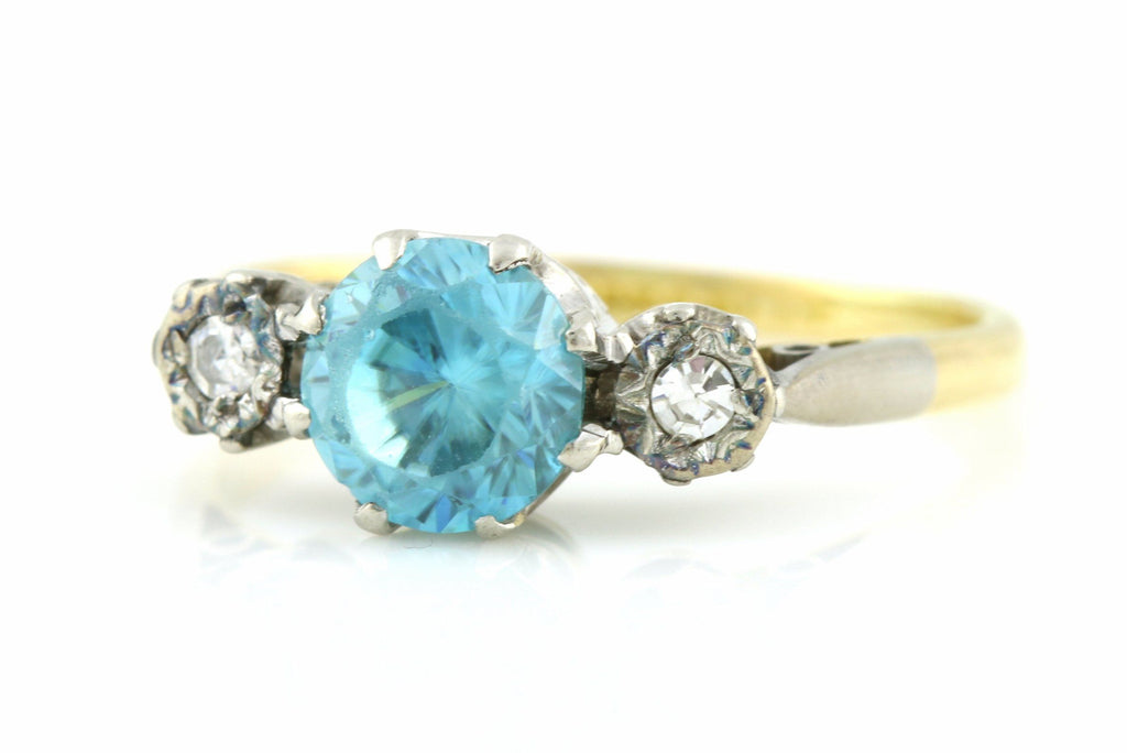 Vintage Art Deco 18ct Gold Blue Zircon and Diamond Trilogy Ring -c.1920