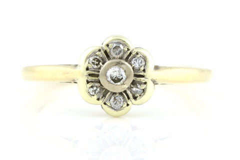 Pretty Vintage 9ct Gold Diamond Cluster Ring -c.1992