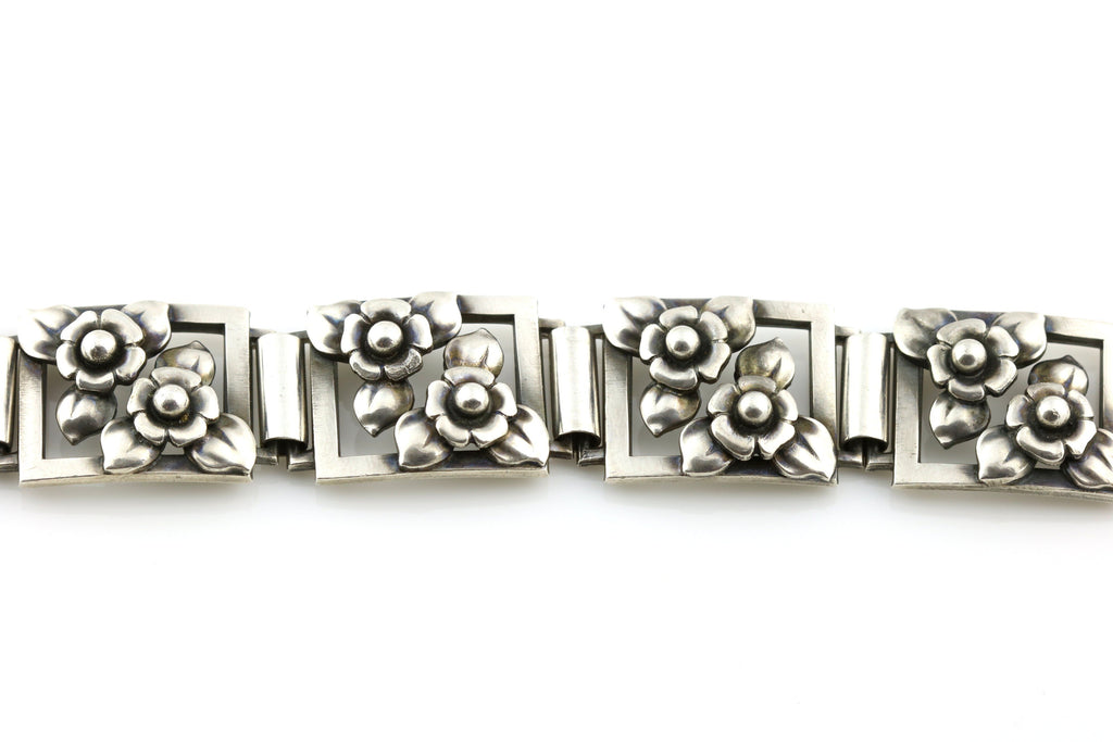 Vintage Scandinavian Silver Panel Bracelet with Flowers, by Gustaf Dahlgren & Co- c.1951