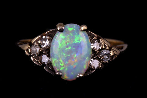 Dainty 9ct Gold Vintage Opal and Diamond Dress Ring -c.1980
