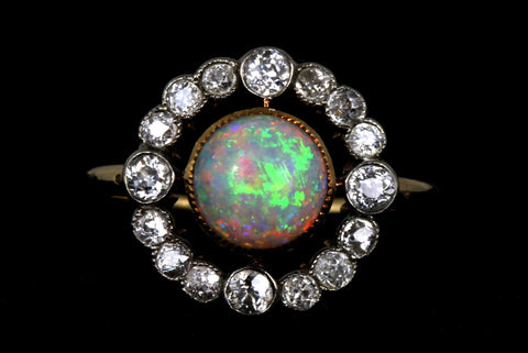 RESERVED! - Superb 18ct Gold and Platinum Antique Opal & Diamond Cluster Ring -c.1905