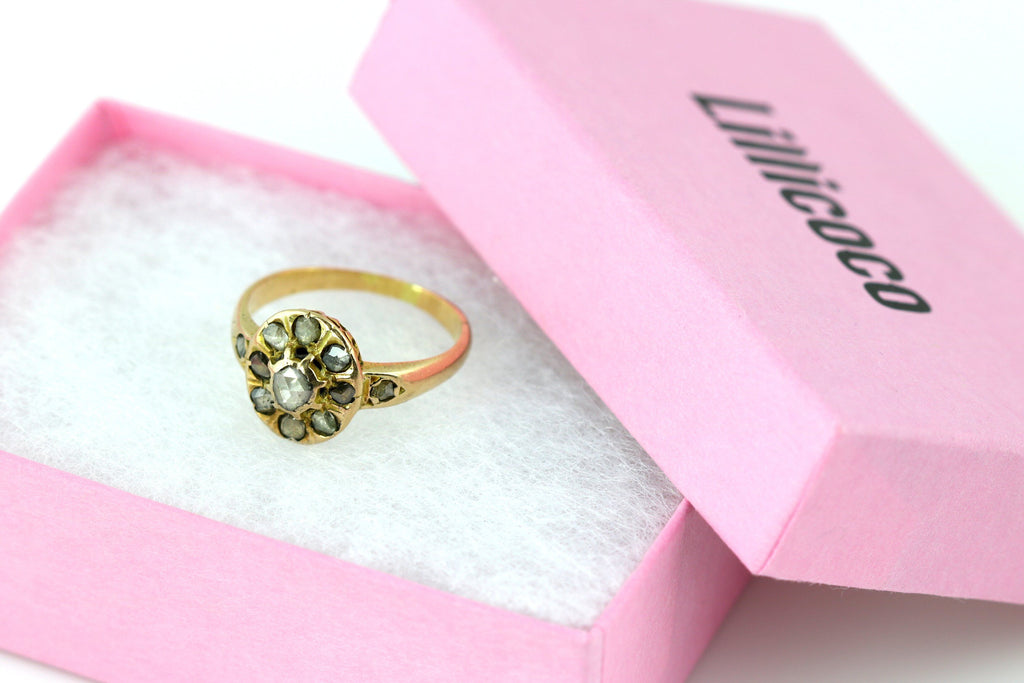 Georgian 18ct Rose Gold Rose Cut Diamond Cluster Ring -c.1830