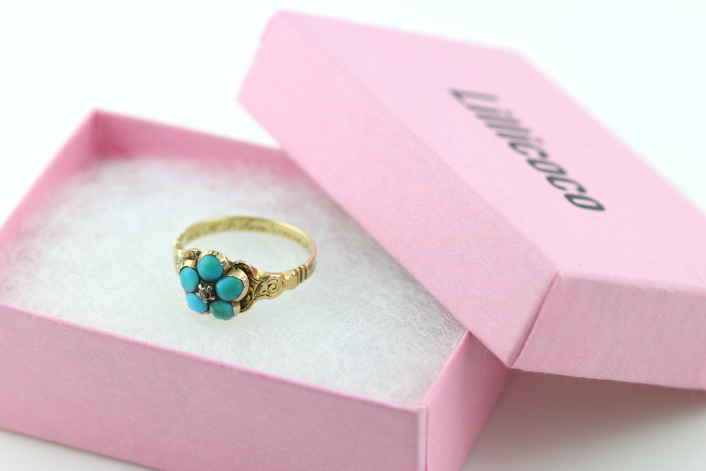 "Antique 15ct Gold Turquoise and Diamond Flower Ring- inscribed ""1845"""