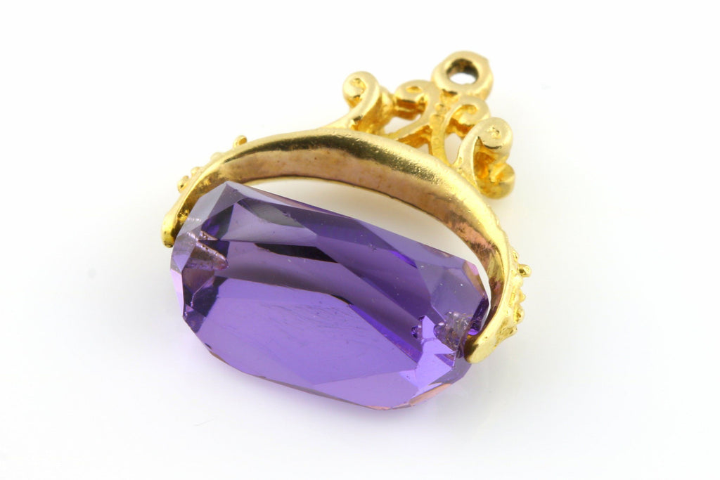 Sweet Vintage 9ct Gold Amethyst Fob Pendant -c.1970