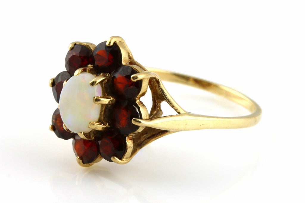 Vintage 9ct Gold Large Garnet and Opal Cluster Ring - c.1969