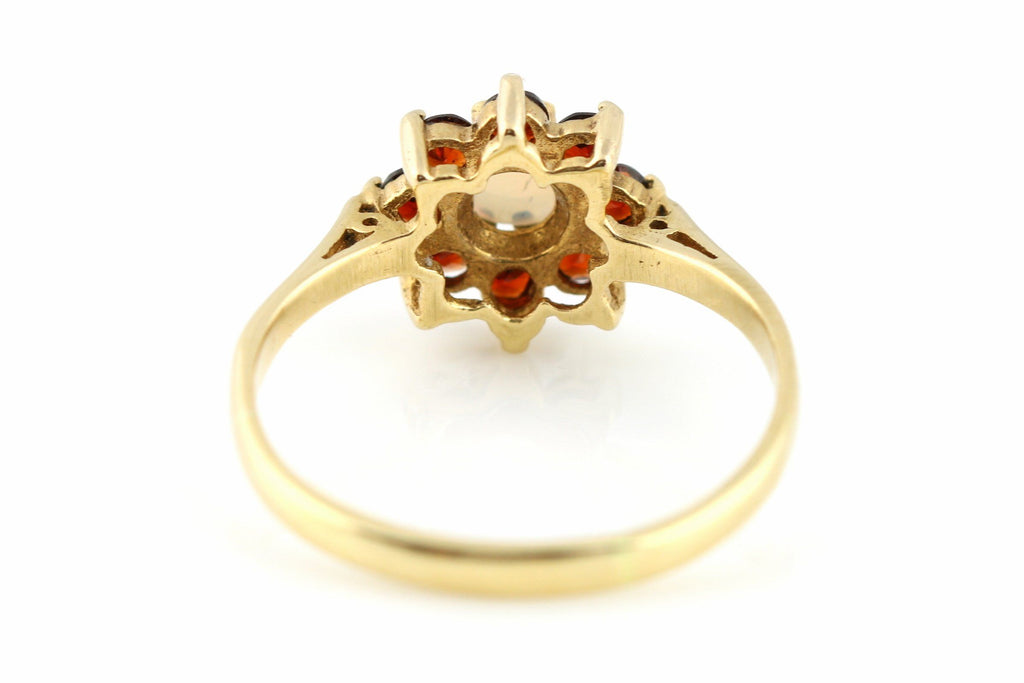 Dainty 9ct Gold Vintage Garnet and Opal Cluster Ring