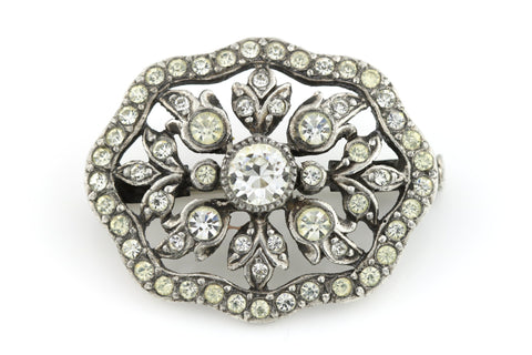 Stunning Antique Silver Paste Brooch- Circa 1901