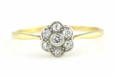 18ct Gold Art Deco Diamond Cluster Engagement Ring - c.1920