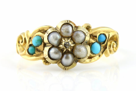 Antique Georgian Turquoise Diamond Pearl Gold Cluster Ring - Circa 1840