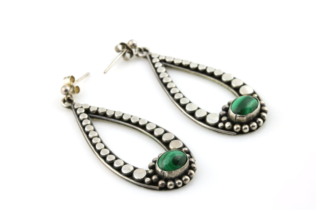 Pretty Vintage Silver Malachite Drop Earrings