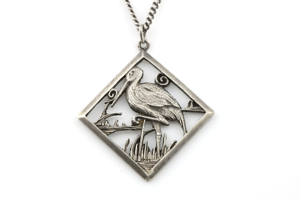 Charming Antique French Silver Stork Pendant & Chain