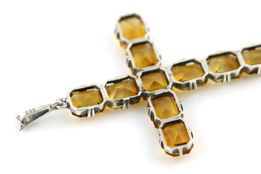 Art Deco Citrine Cross Pendant - c.1930