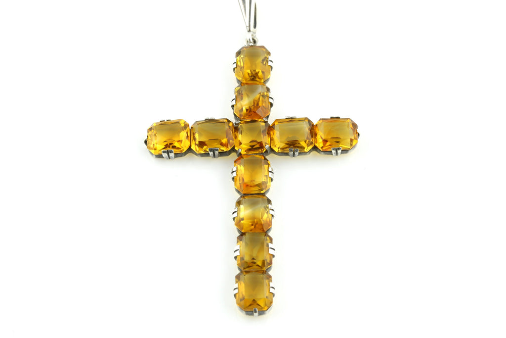 Sublime Large Art Deco Citrine Cross Pendant -c.1930