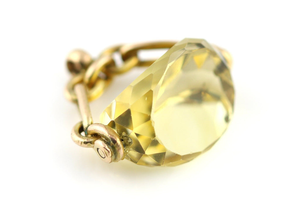 Glowing 9ct Gold Antique Citrine Fob Pendant, with Chain - c.1899