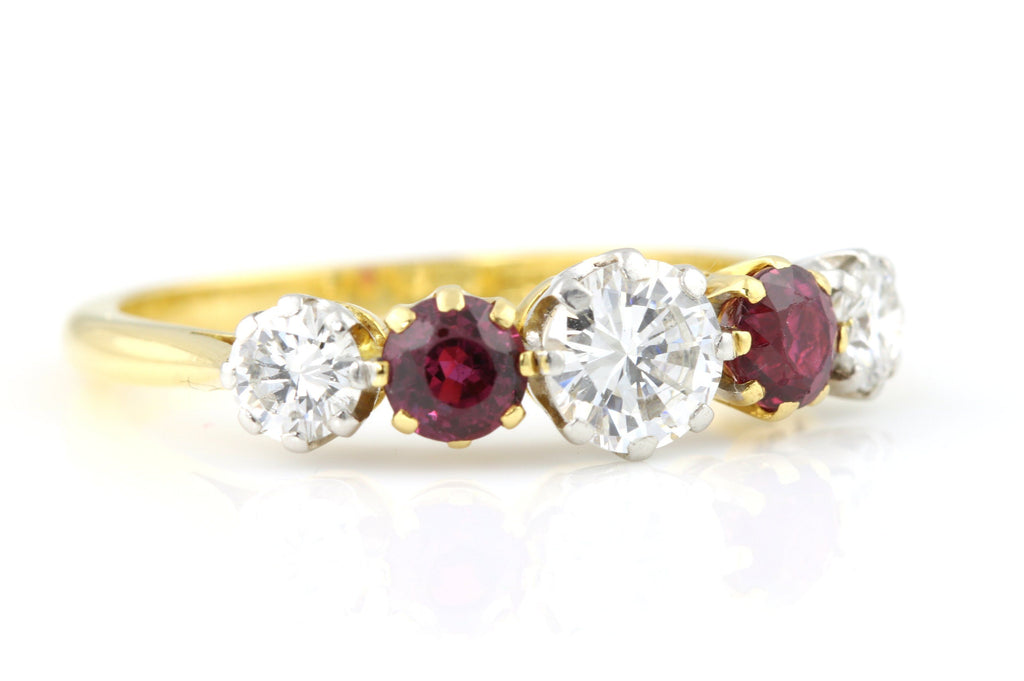 Spectacular 5 Stone Ruby Diamond Ring