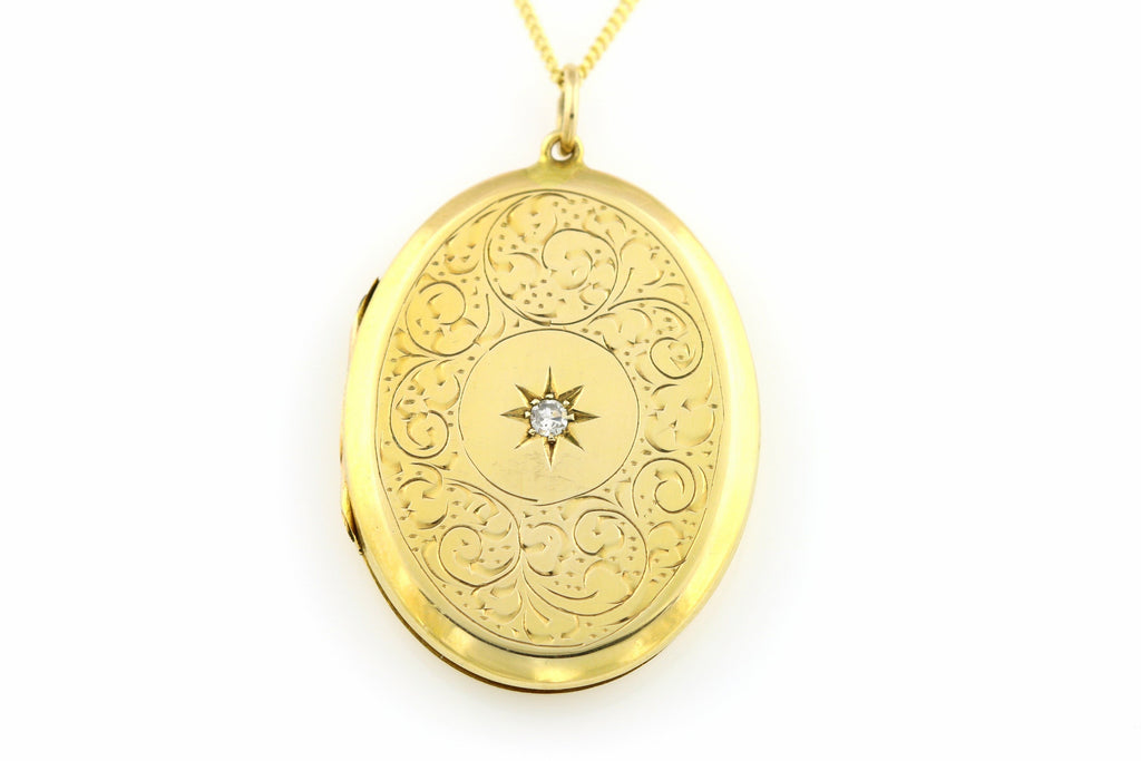 hallmarked vintage compact pendants the products ct lockets sweetheart solid necklace locket antique shop gold