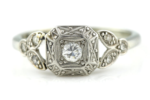 Beautiful 18ct Gold Art Deco Diamond Solitaire Ring (0.20ct) -c.1930