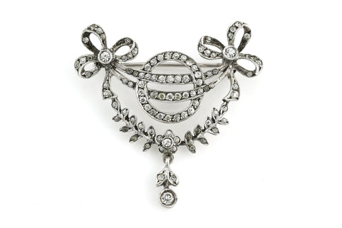 Sparkling Art Deco Silver Paste Brooch - c.1930