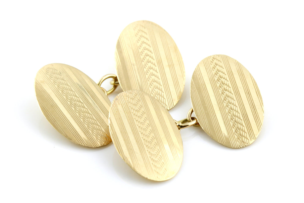 Art Deco Cufflinks with Stylish Stripe - c.1920