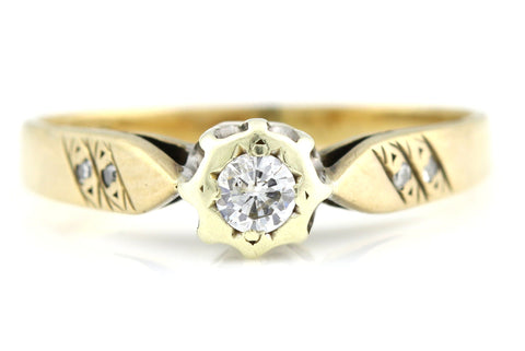 Vintage Diamond Solitaire 9ct Yellow Gold Ring