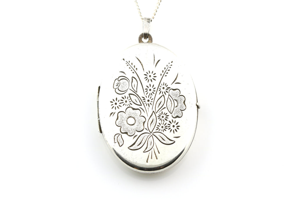Continental Silver Locket with Bouquet of Flowers with Chain - Circa 1940