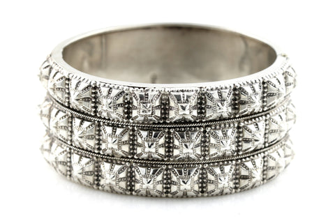"RESERVED FOR ""A""! - Fine English Silver Victorian ""Punk"" Hinged Cuff Bangle - c.1882"