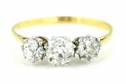 Fine 18ct Gold 1.00ct Art Deco Diamond Trilogy Ring - c.1920