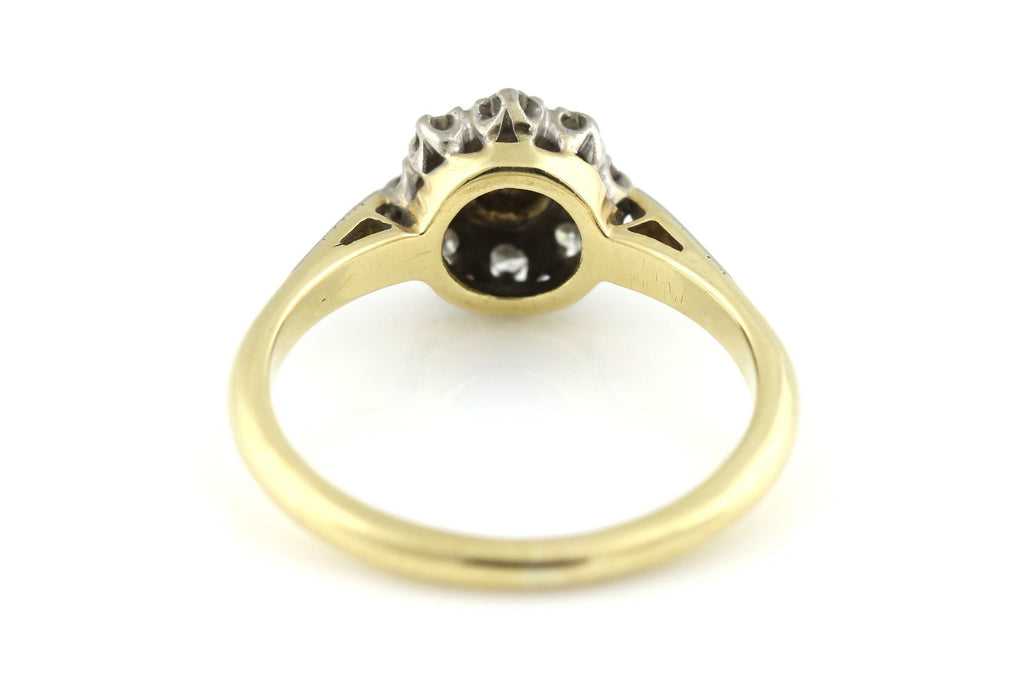 Antique 18ct Gold Pearl & Diamond Cluster Ring c.1910