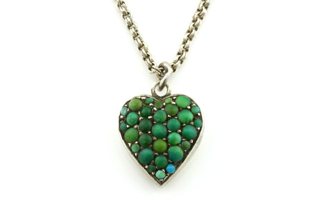 "Charming Victorian Turquoise Heart Charm Pendant and 18"" Chain c.1850"