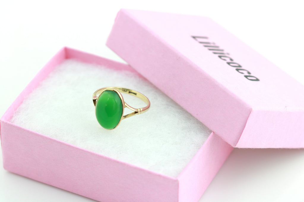 Resize to 5 - Glowing Green Chrysoprase Vintage 9ct Gold Dress Ring -c.1970