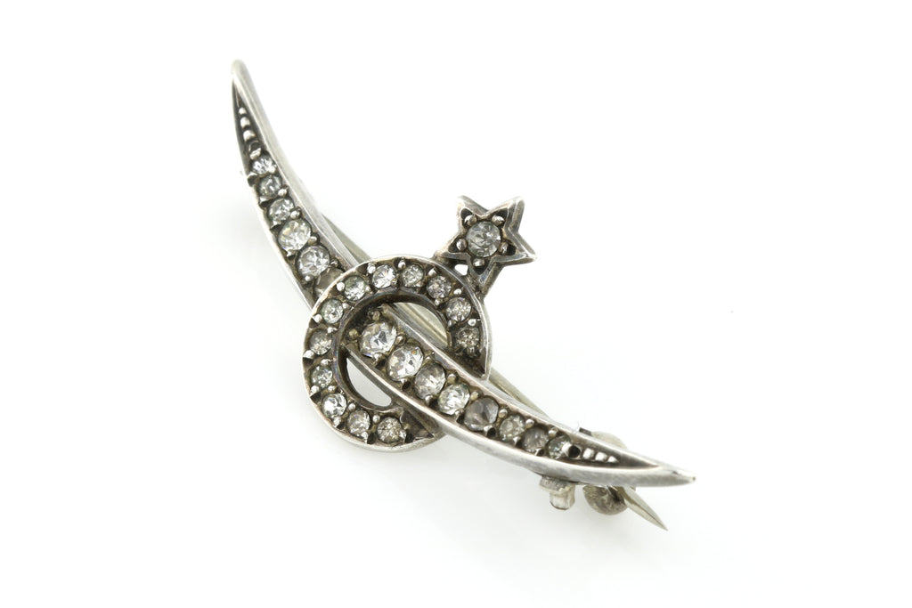 "ON HOLD Beautiful Victorian Silver Paste Crescent Moon Brooch c.1900 (& Conversion to Necklace w/ Rose Gold Rings & 18"" Chain)"
